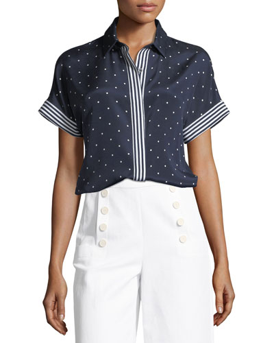 Dot-Print Short-Sleeve Crepe de Chine Blouse