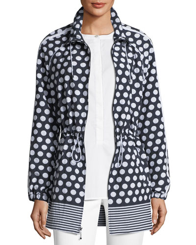 Dot-Print Draw-Cord Anorak Jacket