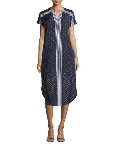 Dot-Print Crepe de Chine Shirttail Dress
