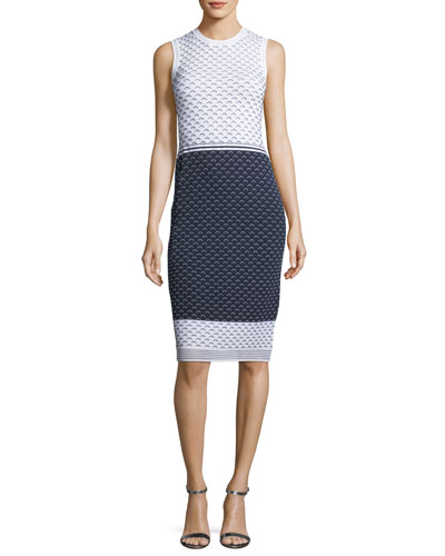 Graphic Ripple-Stitch Knit Sheath Dress