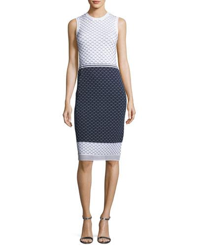 Graphic Ripple-Stitch Knit Sheath Dress