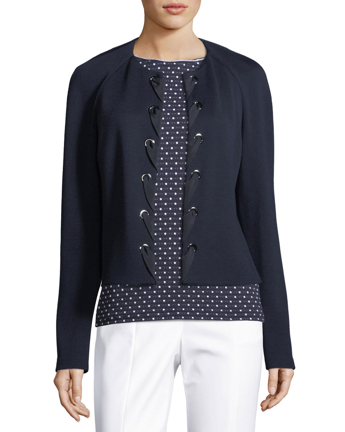 Milano Knit Laced-Front Jacket