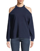 Gizi Cold-Shoulder Cotton Sweatshirt