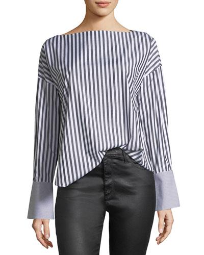 Famke Long-Sleeve Striped Poplin Top