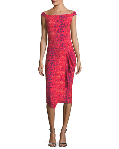Kriti Cap-Sleeve Boat-Neck Cocktail Sheath Dress