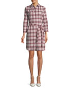 Agna Pink Check Shirtdress w/ Lace Trim