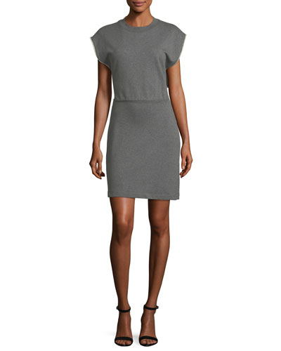 Crewneck French-Terry Cinch-Waist Cotton Dress