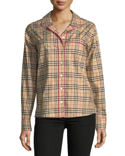 Check-Print Pink Piped Long-Sleeve Shirt