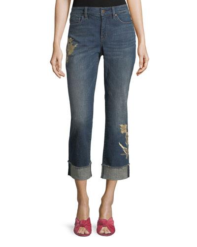 Marilyn Floral-Appliqué Ankle Jeans
