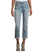 Jewel-Trim Boyfriend Jeans