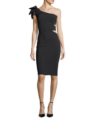 Tashline One-Shoulder Bow Cutout Cocktail Dress