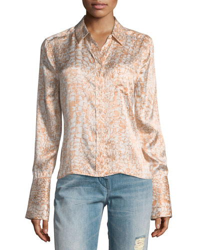 Huntley Crocodile-Print One-Pocket Silk Satin Shirt