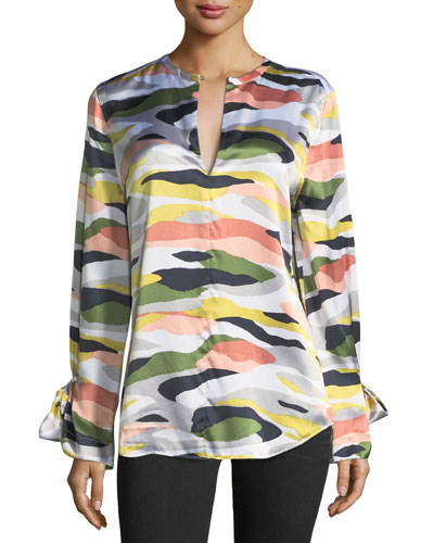 Camo-Print Tie-Sleeve Silk Satin Tunic