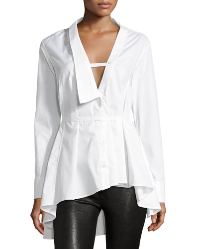 Extended Collar Long-Sleeve Poplin Shirt