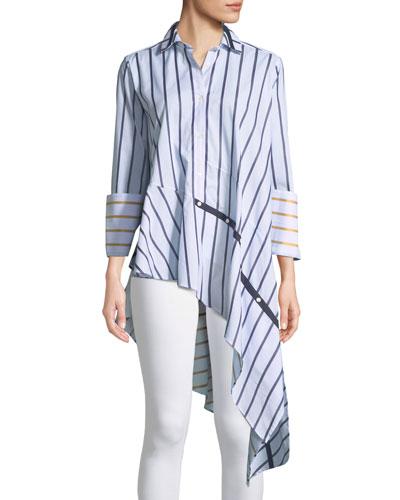 Spicy Button-Front Asymmetric Striped Cotton Shirt
