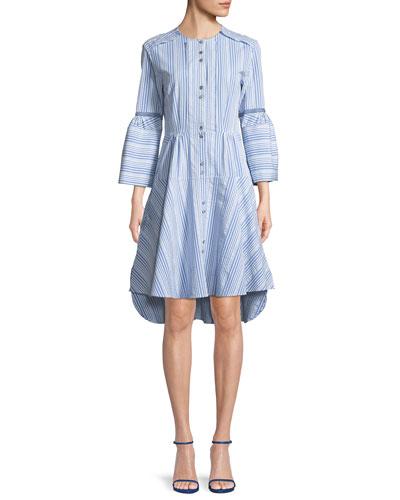 April Button-Front Striped Poplin Dress