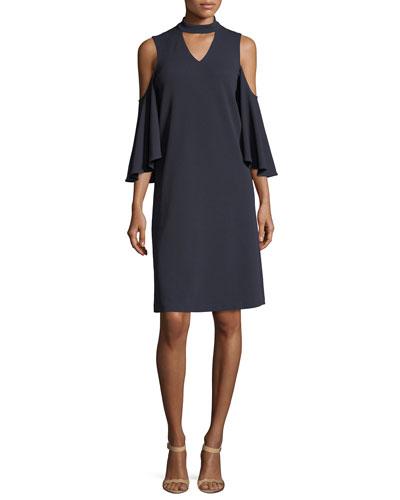 Textured Cutout Flutter-Sleeve Dress, Petite