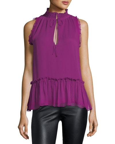 Ray Tie-Neck Sleeveless Silk Blouse