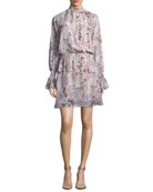 Shelli Floral-Print Silk-Metallic Short Dress