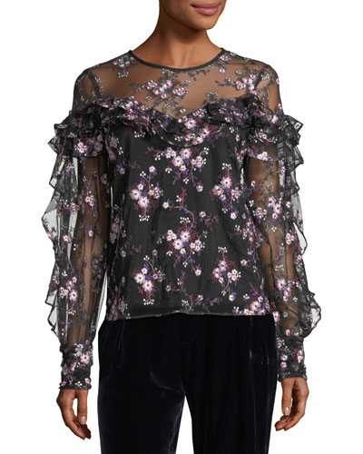 Welsh Floral-Embroidered Long-Sleeve Semisheer Blouse