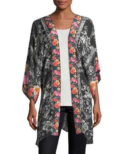 Mona Kimono with Border Print