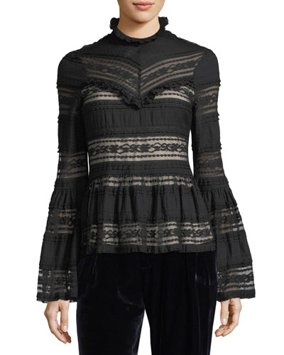 Monique Mock-Neck Bell-Sleeve Lace Blouse