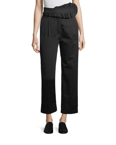 Straight-Leg Poplin Trousers