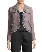 Tweed Button-Front Jacket with Fringed Trim