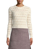 Italian Cotton-Blend Pointelle Sweater
