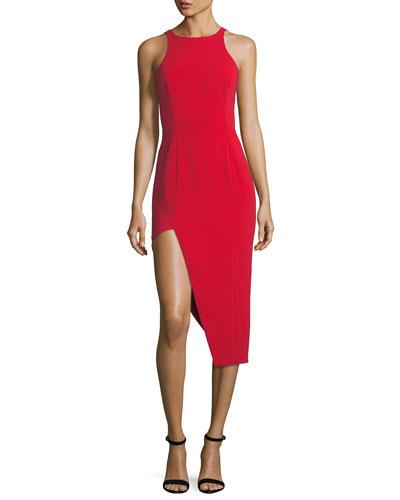 Pine V-Back Asymmetric Skirt Dress