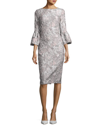 Metallic Stretch Bell-Sleeve Jacquard Cocktail Dress