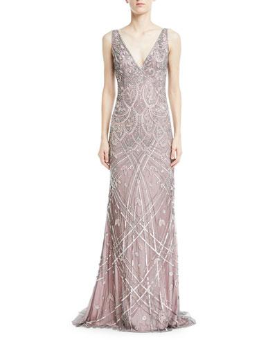 Vintage Beaded Sleeveless V-Neck Gown