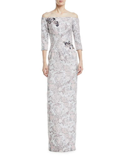 Metallic Jacquard Off-the-Shoulder Gown