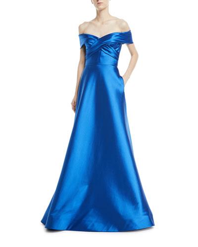 Metallic Stretch Crisscross Off-the-Shoulder Gown