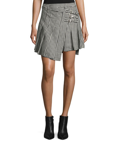 Houndstooth Wool Wrap Kilt Skirt