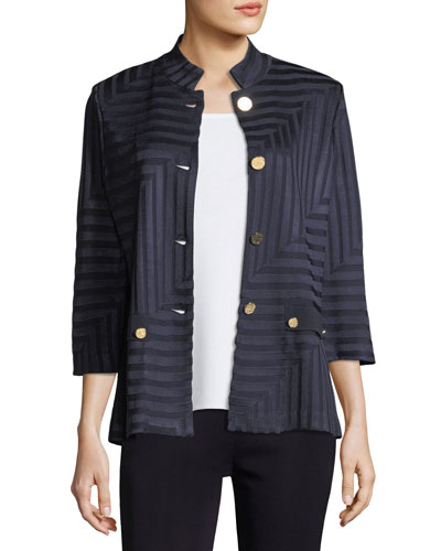 Subtle Lines 3/4-Sleeves Jacket, Plus Size