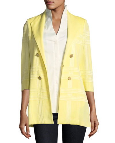 3/4-Sleeve Long Statement Jacket, Plus Size