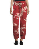 Drawstring Wide-Leg Printed Silk Pajama Pants