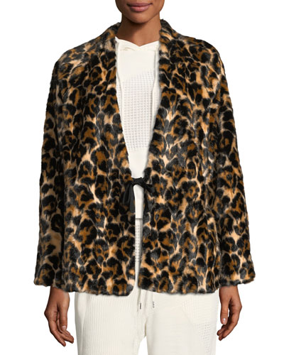 Short Faux-Fur Leopard-Print Coat