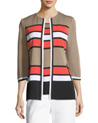 Unexpected Stripes 3/4-Sleeve Jacket, Plus Size