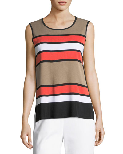 Multi Stripe Scoop-Neck Tank Top, Plus Size