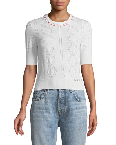 Cross-Stitch Half-Sleeve Wool Sweater