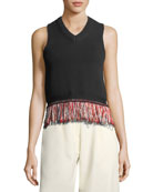 V-Neck Sleeveless Knit Tank Top with Fringed-Hem