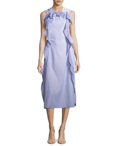 High-Neck Sleeveless Striped Cotton Midi Dress With Ruffled Frills in Blue