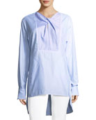 Striped Long-Sleeve Cotton Poplin Long Shirt