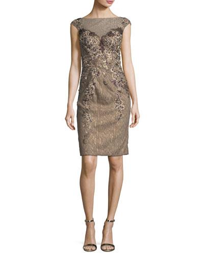 Embellished Cap-Sleeve Lace Illusion Dress