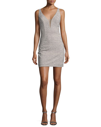 Glitter Deep V-Neck Sheath Mini Dress