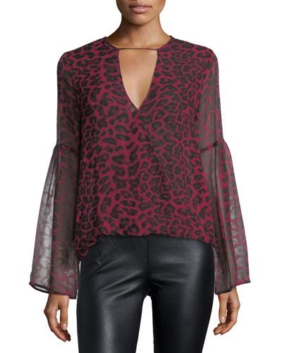 Tigris V-Neck Leopard-Print Silk Chiffon Blouse