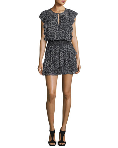 Tigris Sleeveless Leopard-Print Silk Chiffon Mini Dress