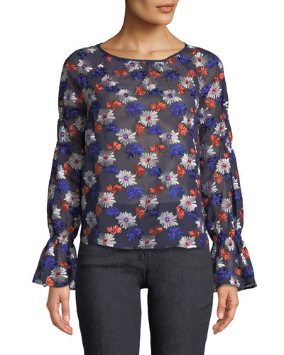 Floral-Embroidered Long-Sleeve Sheer Blouse